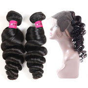 10A Peruvian Loose Wave Hair 360 Lace Frontal with 2 Bundles