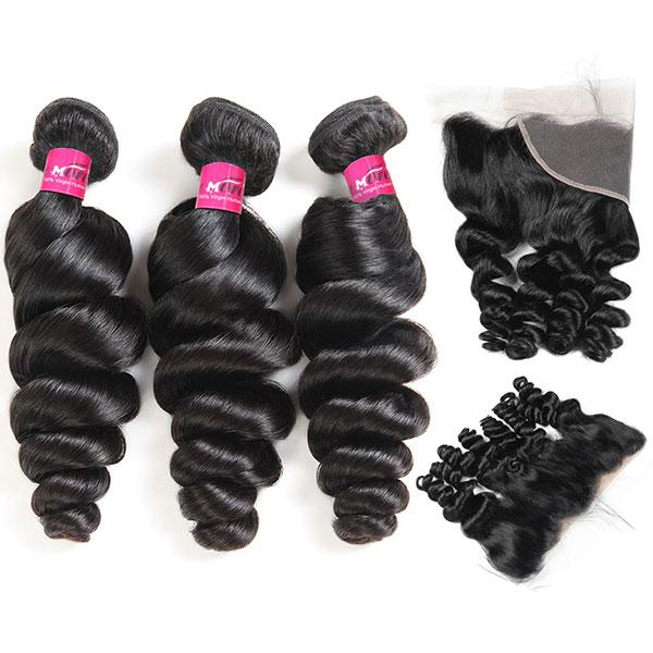 Virgin Peruvian Loose Wave Hair 3 Bundles with 13*4 Lace Frontal Closure - OneMoreHair