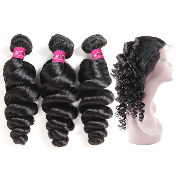 10A Grade Virgin Peruvian Hair Loose Wave Hair 3 Bundles with 360 Lace Frontal