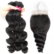 brazilian loose wave 3 bundles with 4x4 closure