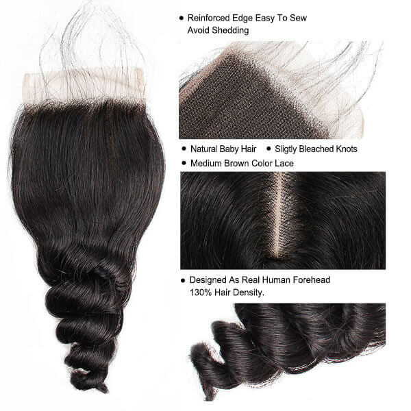 Loose Wave Human Hair 4*4 Lace Closure 1 Piece 10A Brazilian Hair Swiss Lace