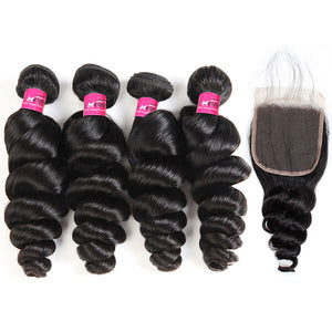 One More 10A Virgin Brazilian Loose Wave Hair 4 Bundles with 4*4 Lace Closure - OneMoreHair