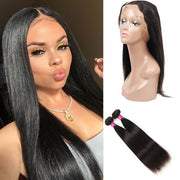 Peruvian Straight Hair Weave 2 Bundles with 360 Lace Frontal