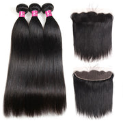 100% Human Hair Peruvian Straight Hair 3 Bundles with 13*4 Lace Frontal