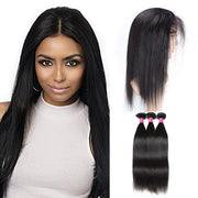 Virgin Indian Straight Hair 360 Lace Frontal with 3 Bundles Human Hair Deals - OneMoreHair