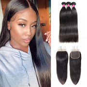 One More Peruvian Straight Hair 3 Bundles with 4*4 Lace Closure - OneMoreHair