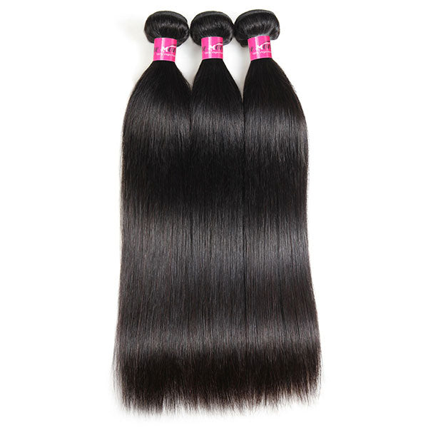 straight hair 3 bundles with transparent lace closure