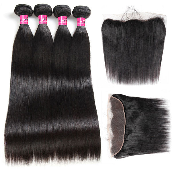 One More Virgin Brazilian Straight Hair 4 Bundles with 13*4 Lace Frontal Closure - OneMoreHair
