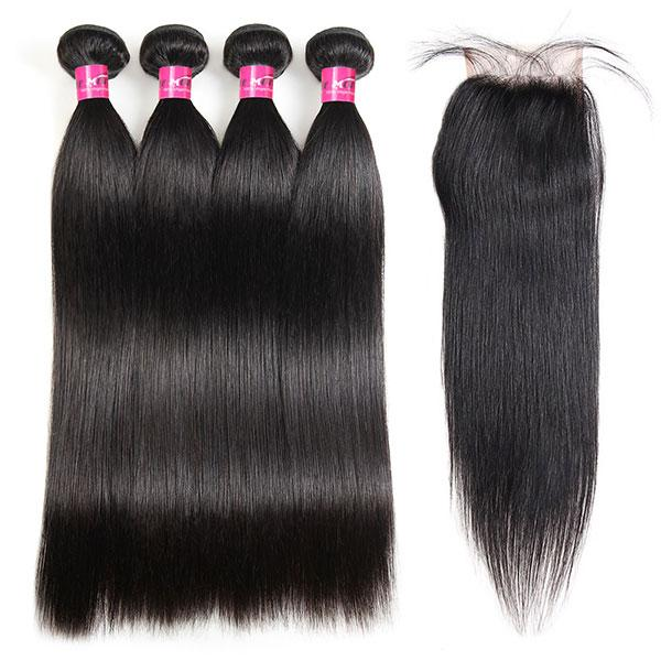 10A Virgin Brazilian Straight Hair 4 Bundles with 4*4 Lace Closure - OneMoreHair