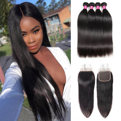 One More Peruvian Straight Hair 4 Bundles with 4*4 Lace Closure