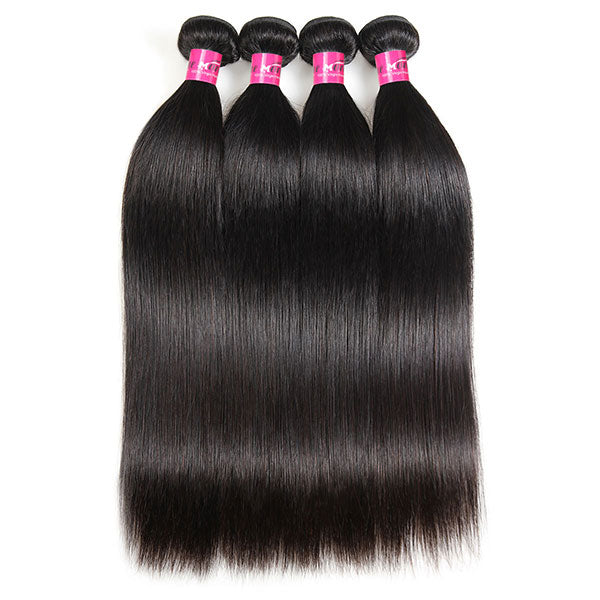 100% Virgin Brazilian Straight Hair Weave 4 Bundles 10A Grade One More Hair