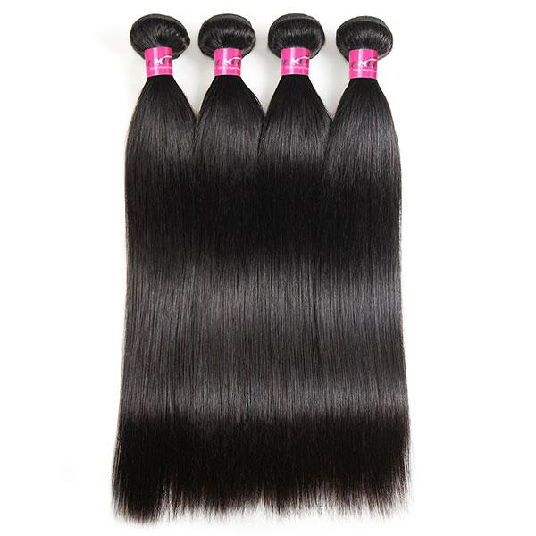 One More Peruvian Straight Hair 4 Bundles with 4*4 Lace Closure - OneMoreHair