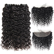 peruvian water wave hair 3 bundles with 13*4 lace frontal