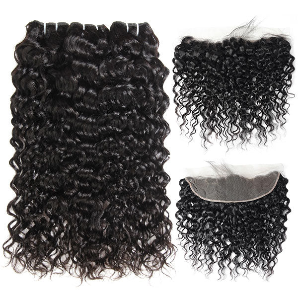 Peruvian Water Wave Hair 10A Virgin Hair 3 Bundles with 13*4 Lace Frontal