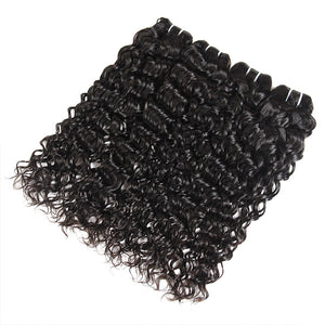 Peruvian Water Wave 4 Bundles with 4*4 Lace Closure Wet And Wavy Hair - OneMoreHair