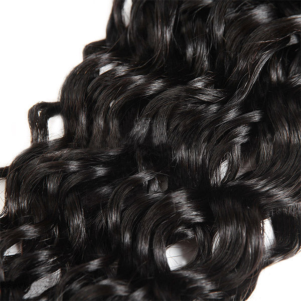 10A Virgin Brazilian Water Wave Hair 4 Bundles with 4*4 Lace Closure One More