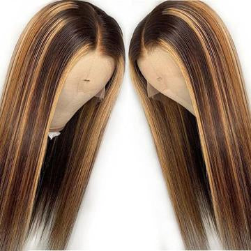 13x4 Straight Lace Front Wigs Brown Hair with Blonde Highlights Ombre Color Hair