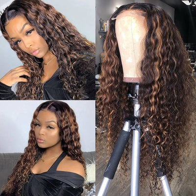 Highlight Lace Closure Wig Deep Wave