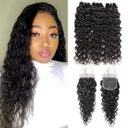 brazilian water wave 3 bundles with 4x4 closure