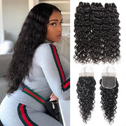 Malaysian Water Wave Hair 3 Bundles with 4*4 Lace Closure Human Hair Weave