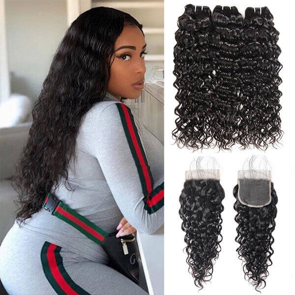 malaysian water wave 3 bundles with 4x4 closure