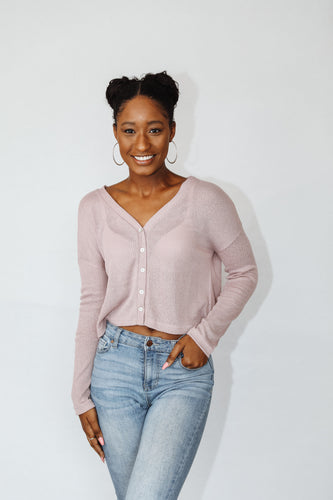 Button Babe Waffle Knit Long Sleeve Top
