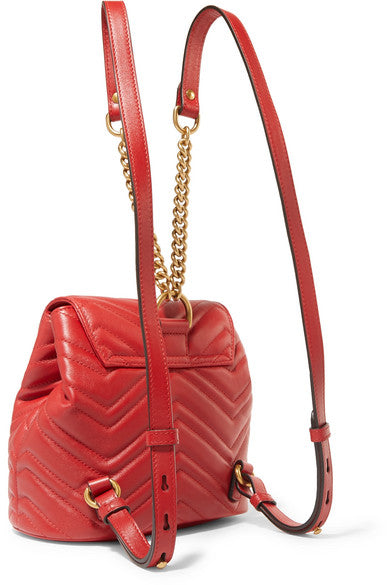 Gucci GG Marmount chevron leather backpack red handbag