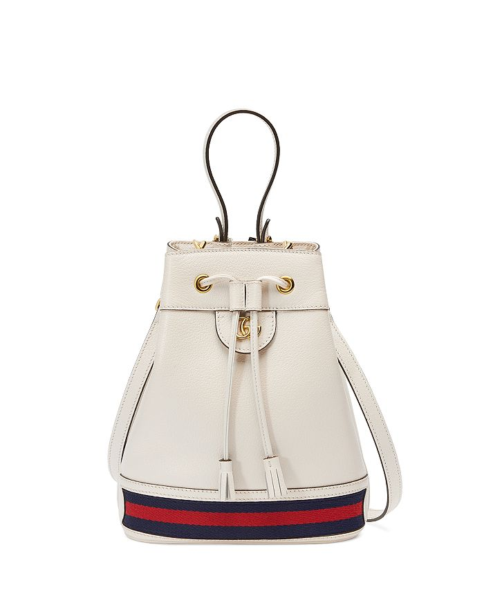 Gucci Ophidia small textured leather white bucket bag