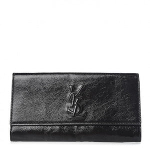 SAINT LAURENT Textured Patent Calfskin Small Belle De Jour Clutch Black