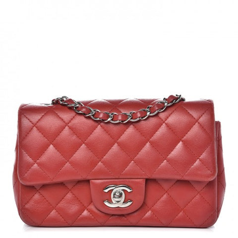 Chanel Lambskin Quilted Mini Flap Bag Red