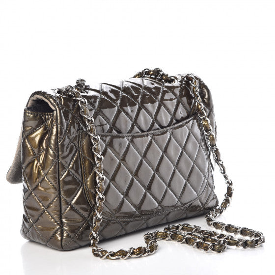 CHANEL Metallic Patent Quilted Jumbo Single Flap Green