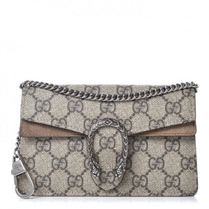 Gucci Monogram Super Mini Dionysus Shoulder Bag Beige
