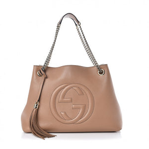 GUCCI Pebbled Calfskin Medium Soho Chain Shoulder Bag Camelia