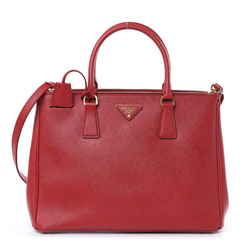 Prada Saffiano Leather Medium Galleria Double Zip Tote Fuoco