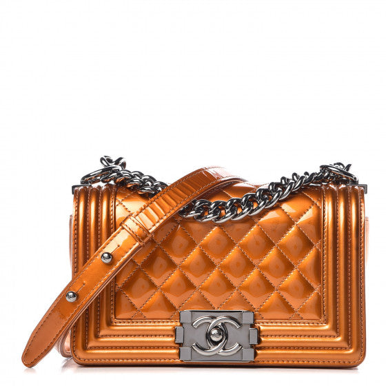 CHANEL Metallic Patent Calfskin Quilted Small Boy Flap Orange