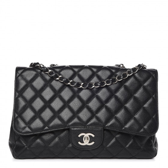 CHANEL Caviar Quilted Jumbo Single Flap Black