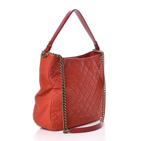 Chanel Country Chic Caviar Leather Hobo Bag Red