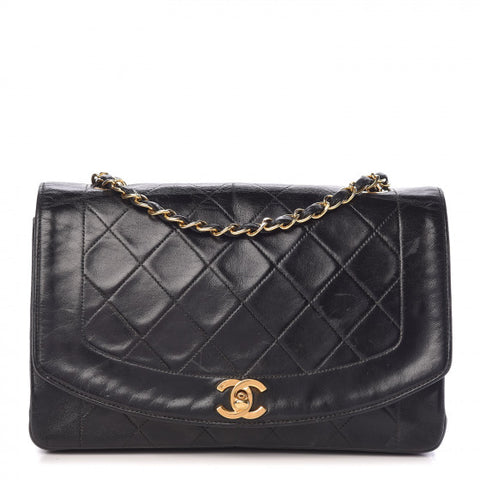 Chanel Lambskin Quilted Small Single Flap Black Handbag