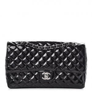 Chanel Patent Quilted Medium Secret Label Flap Black
