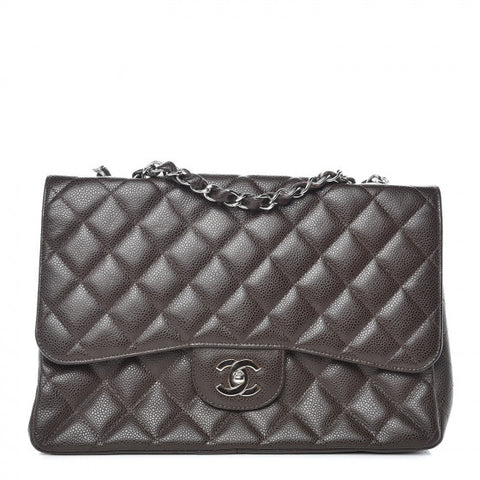 Chanel Caviar Quilted Jumbo Single Flap Dark Brown