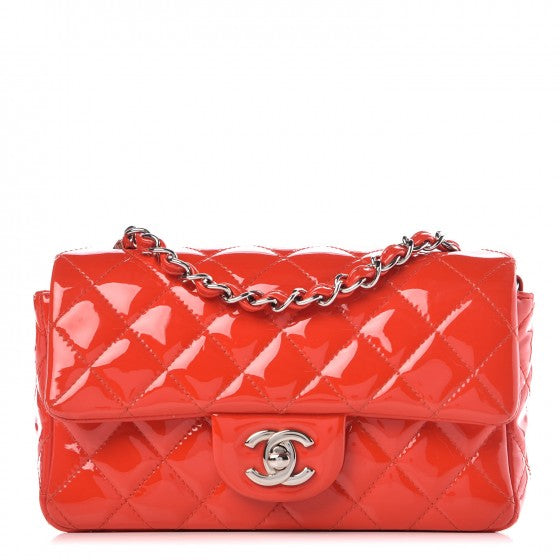 Chanel Patent Quilted Mini Flap Red