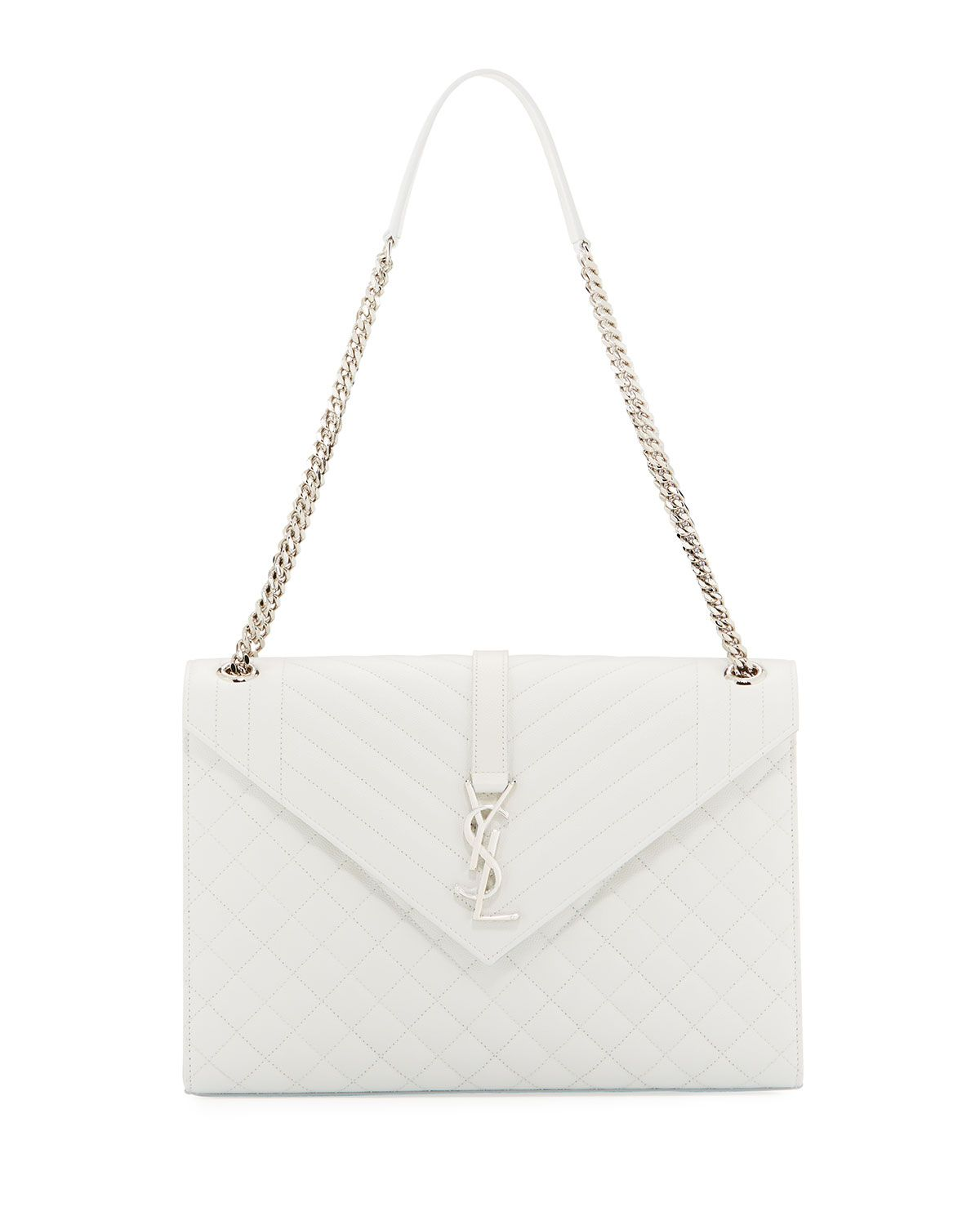Saint Laurent Grain De Poudre Textured Mixed Matelasse Large White handbag