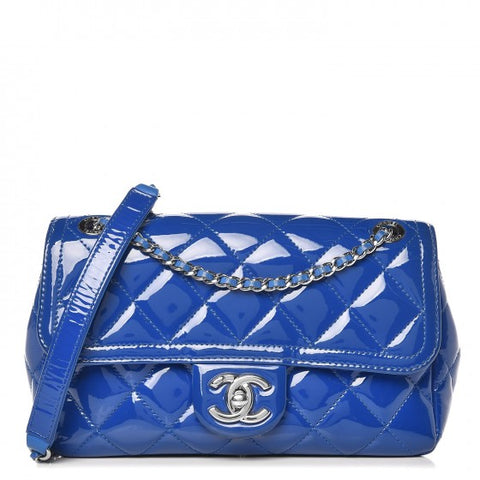 CHANEL Patent Quilted Small Coco Shine Flap Blue