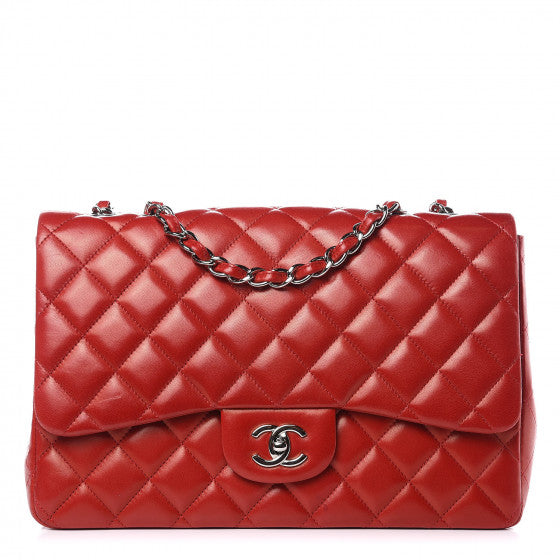 Chanel Lambskin Quilted Jumbo Single Flap Handbag Red