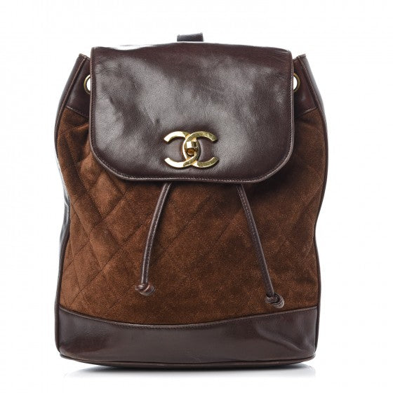 Chanel Suede Quilted Drawstring Sling Backpack Brown