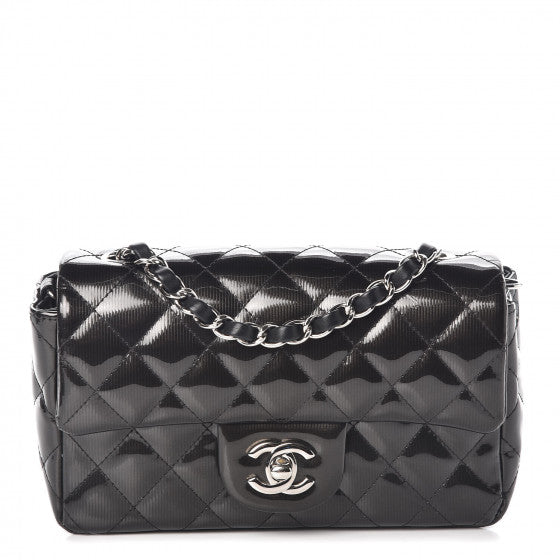 CHANEL Striated Patent Calfskin Quilted Mini Rectangular Flap Black