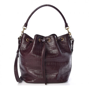 Saint Laurent Crocodile Embossed Calfskin Large Emmanuelle Bucket Bag Burgundy
