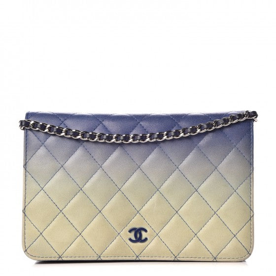 Chanel Lambskin Quilted WOC Blue White