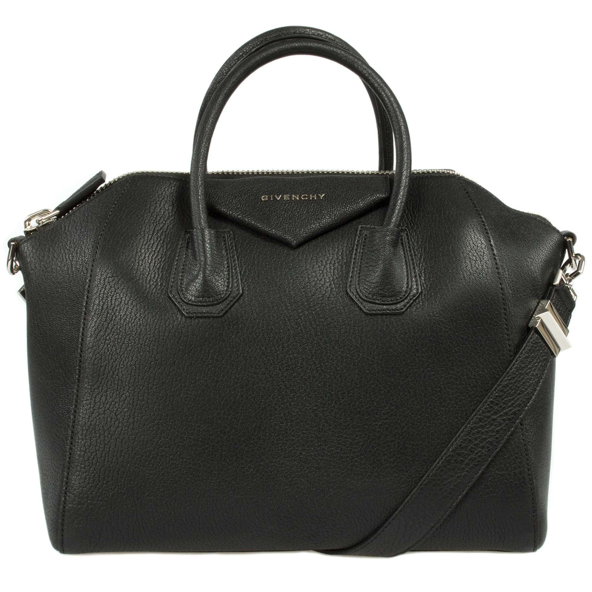 Givenchy Black Antigona Sugar Goatskin Grained Medium Bag