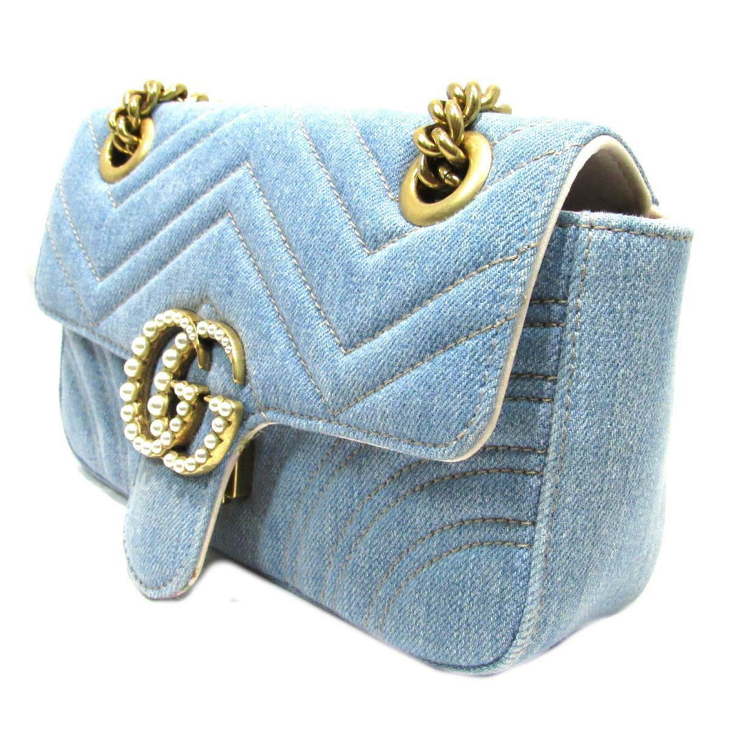 369a7a756167 ... Gucci Marmont Pearl GG Limited Ed Denim Matelasse Crossbody Bag ...